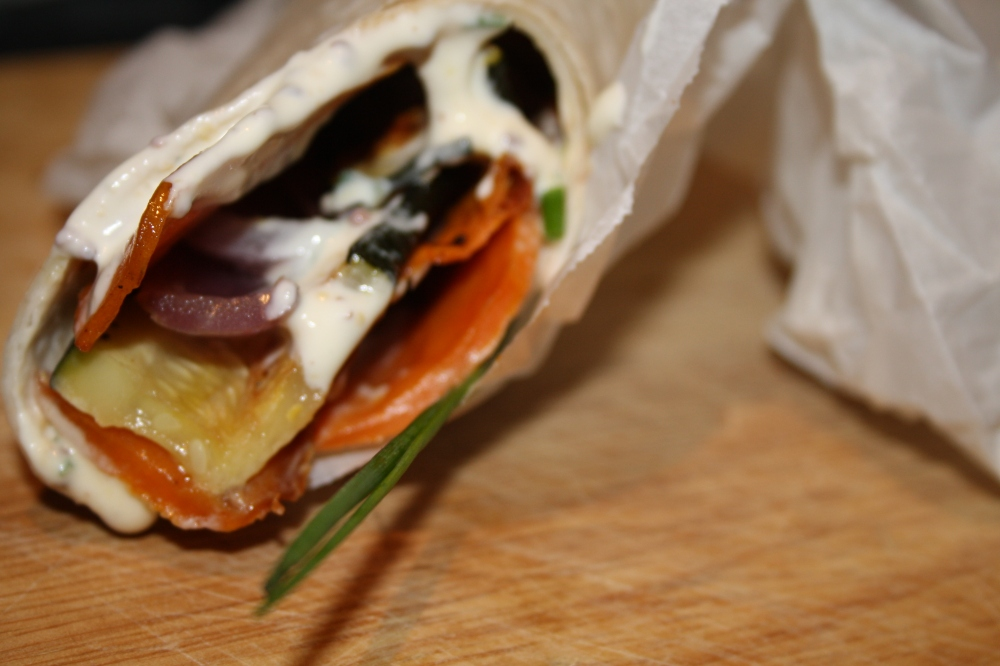 roast vegetable wrap with creamy chive dressing