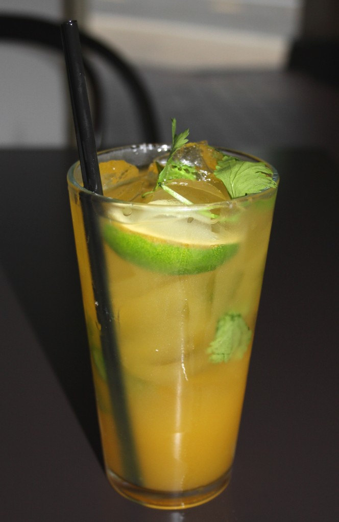 yellow fever rum ginger beer cilantro on ice