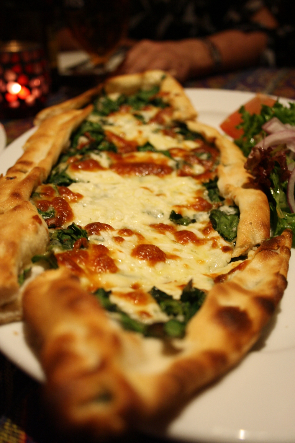 turkish spinach and cheese pide