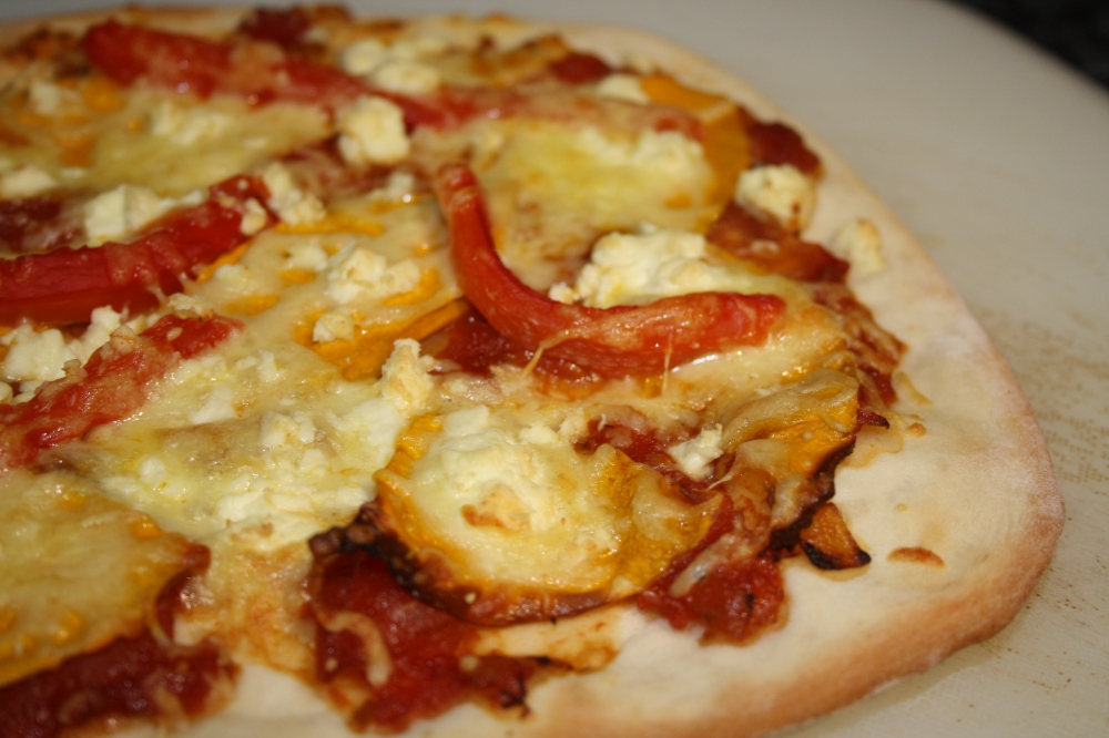 roasted capsicum and pumpkin pizza