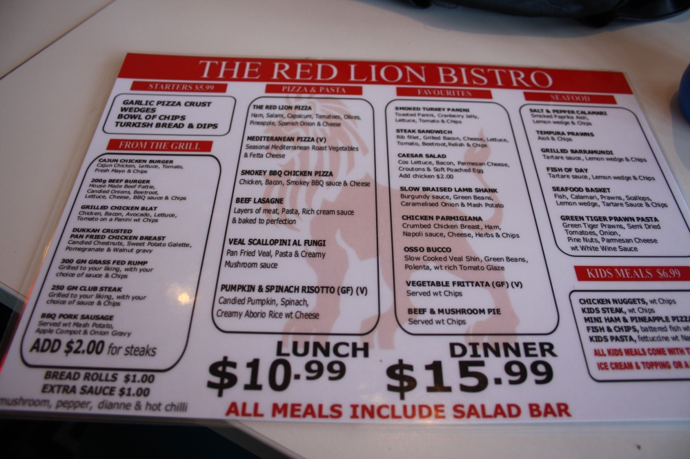 red lion hotel menu image