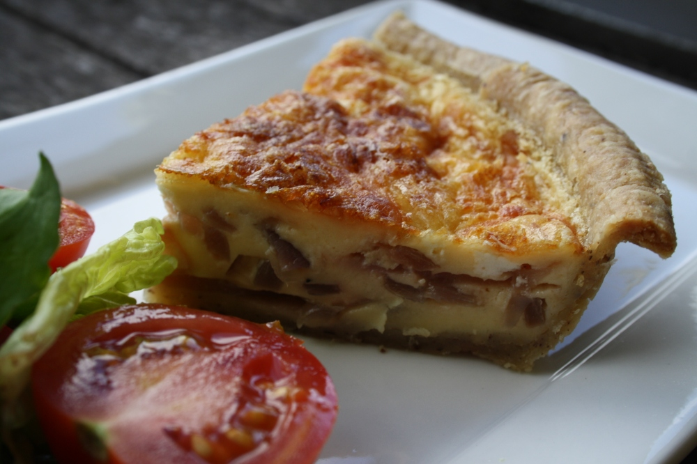 gruyere, goats cheese and caramelized onion tart