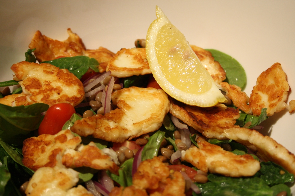 lentil and haloumi salad