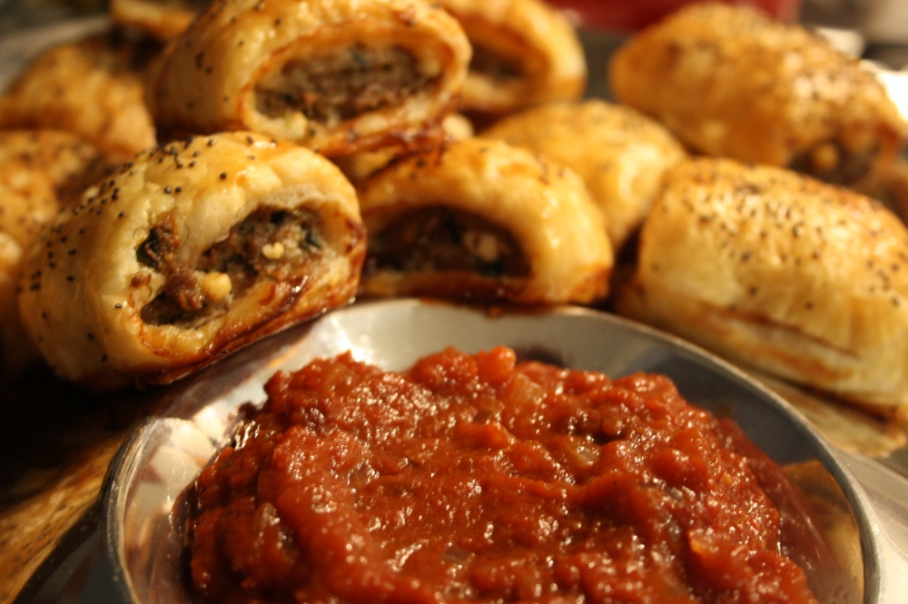 lamb fetta spinach sausage rolls